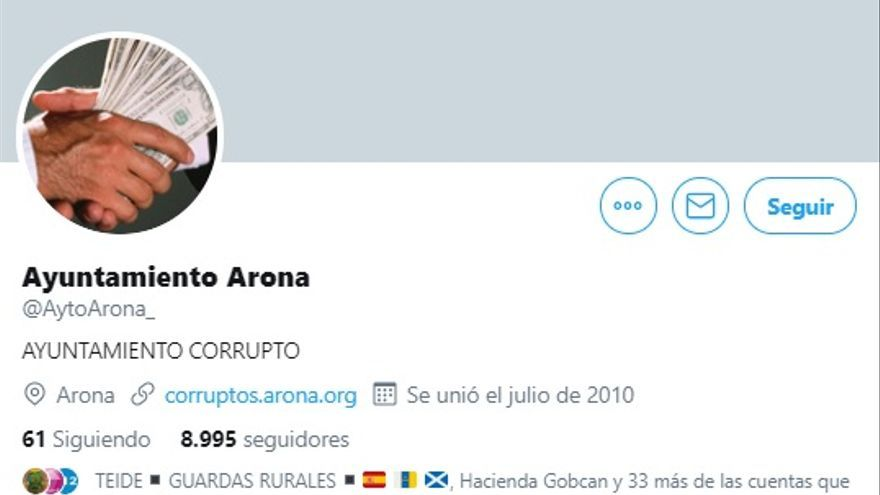Hackeada la cuenta de Twitter del Ayuntamiento de Arona.