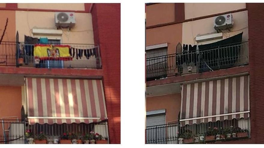 La bandera preconstitucional colgada en el balcón de una vivienda en Alaquàs, que posteriormente fue retirada