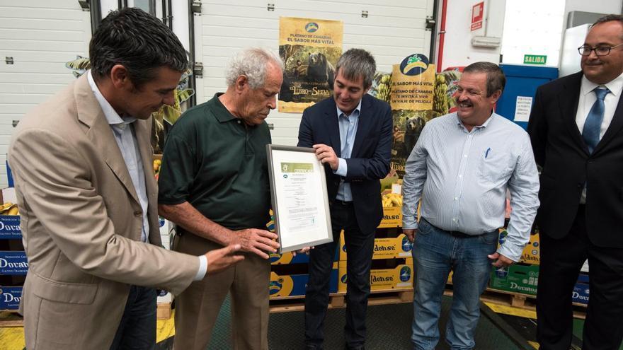 Entrega del presidente del Gobierno de Canarias, Fernando Clavijo, del primer certificado de calidad IGP Plátano de Canarias a Costa Caleta.