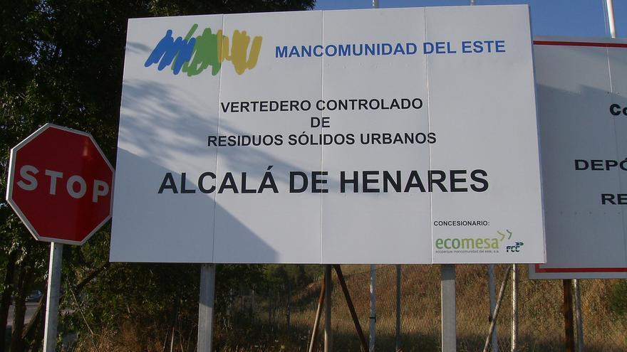 Cartel del vertedero de Alcalá de Henares. / Mancomunidad del Este