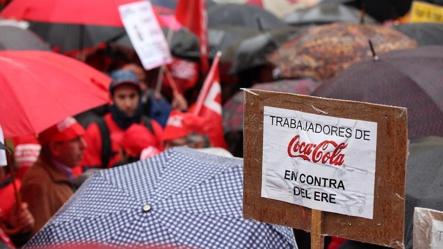 Protesta de trabajadores de Coca-Cola. EUROPA PRESS