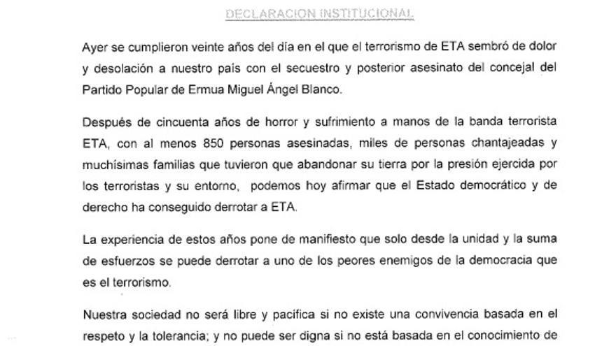 Declaración institucional sobre Miguel Ángel Blanco firmada por algunos grupos del Congreso.