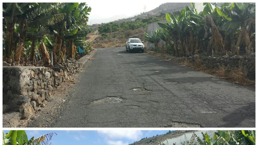 Camino de El Puerto antes y después de la repavimentación.