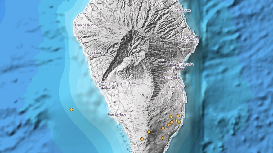 Mapa del IGN donde se han localizado la nueva serie de sismos en Cumbre Vieja.