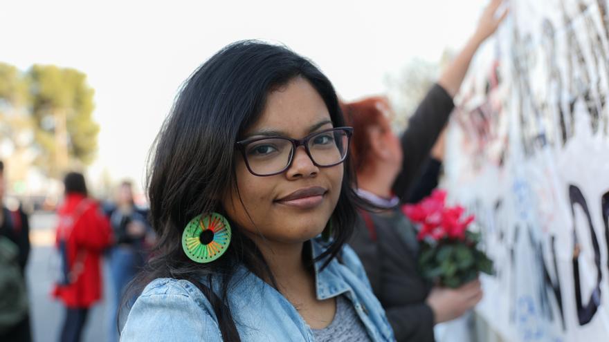Karen Rodríguez, de la Red de Migradas Hondureñas, ha participado en la organización de la comisión antirracista y migrante del 8M