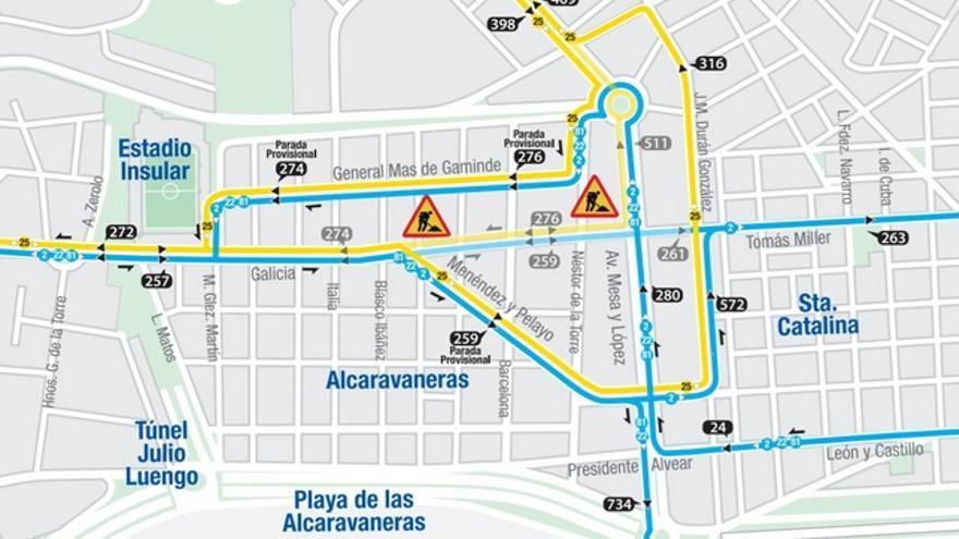 Reestructuración de las Guaguas por el cierre de la calle Galicia