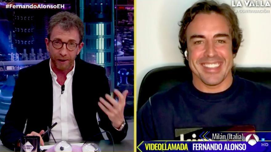 Fernando Alonso, por videollamada en el 15 aniversario de 'El Hormiguero'