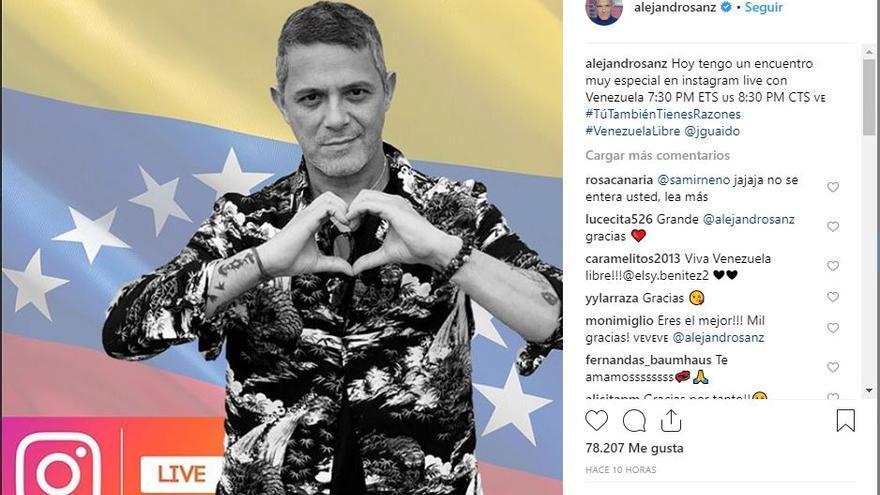 Alejandro Sanz, en su cuenta de Instagram