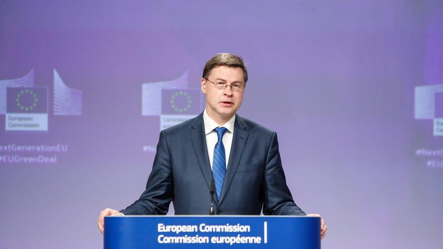 En la imagen, el vicepresidente de la Comisión Valdis Dombrovskis.