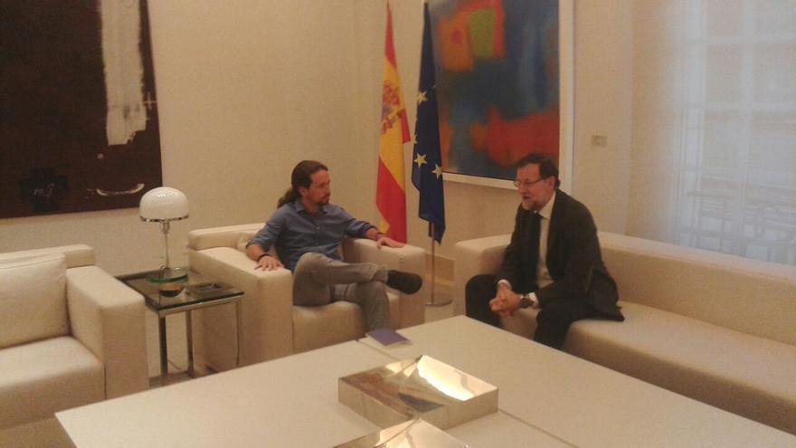 Rajoy e Iglesias, durante su reunión en Moncloa
