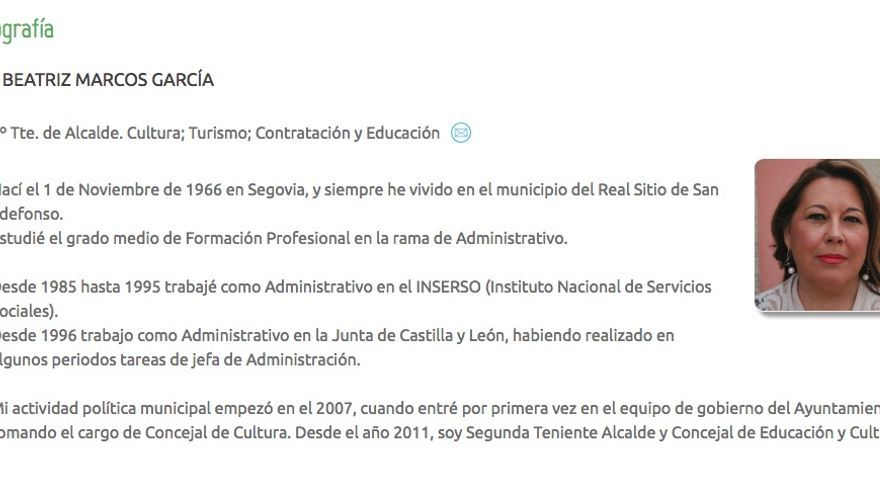 Biografía de Beatriz Marcos García. Ayuntamiento Real Sitio de San Ildefonso