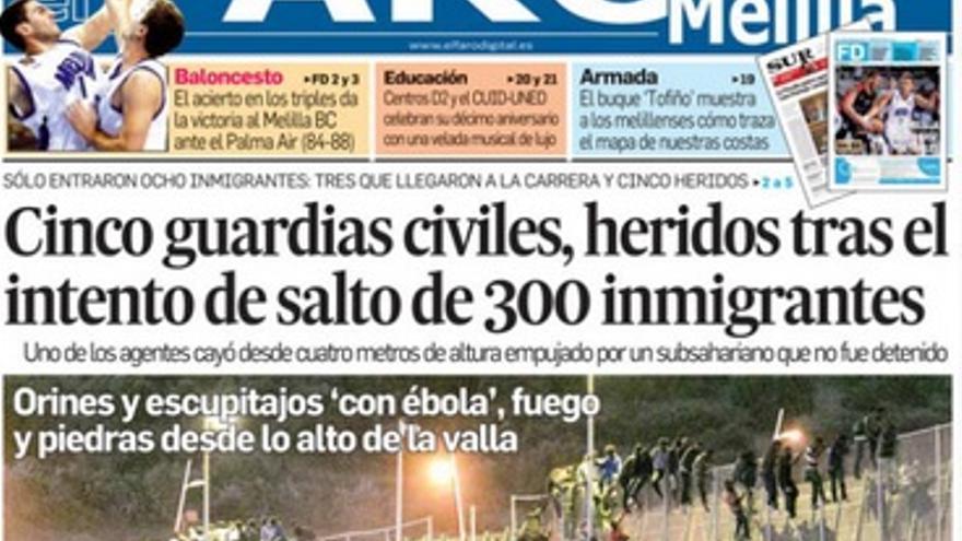 Portada de El Faro de Melilla. 16/10/2014