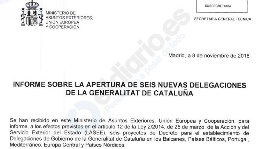 Detalle del informe del ministerio de Exteriores sobre las oficinas exteriores de la Generalitat