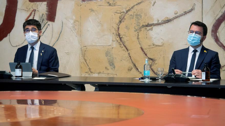 El president, Pere Aragonès, y el vicepresidente, Jordi Puigneró, este martes.