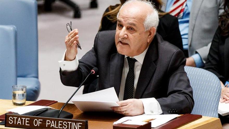 En la imagen un registro del representante permanente palestino ante la ONU, Riyad Mansur.