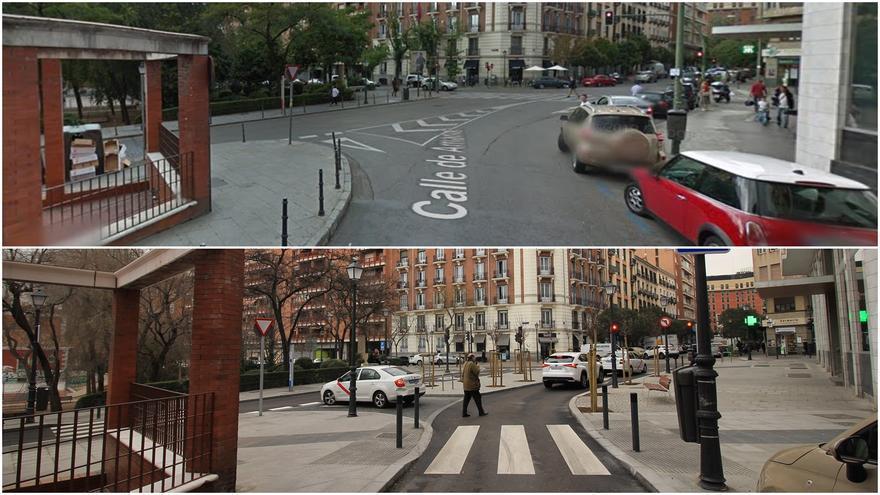 Cruce de las calles Amaniel y Conde Duque, antes (arriba) y después (debajo) de la reforma   SOMOS MALASAÑA