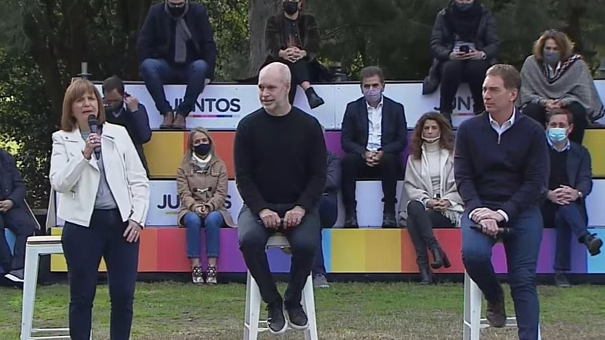 Diego Santilli estuvo acompañado por Patricia Bullrich y Horacio Rodríguez Larreta, entre otros dirigentes de Juntos.