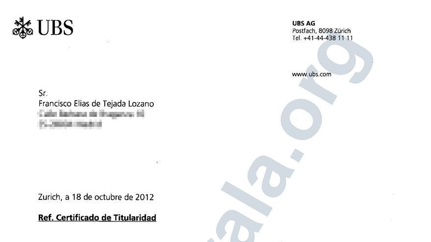 Certificado de titularidad de Francisco Elías de Tejada de una cuenta en el banco suizo UBS