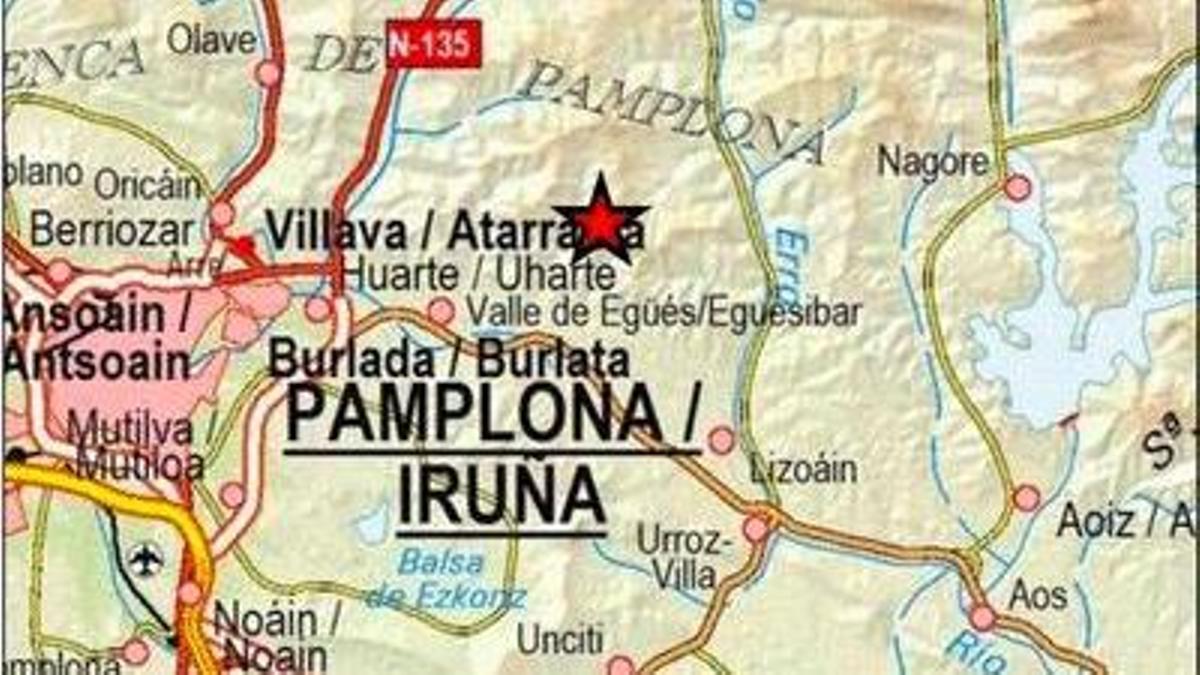 Mapa del epicentro del terremoto de Navarra