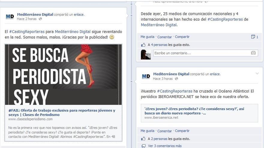 Publicación en el facebook de Mediterráneo Digital.