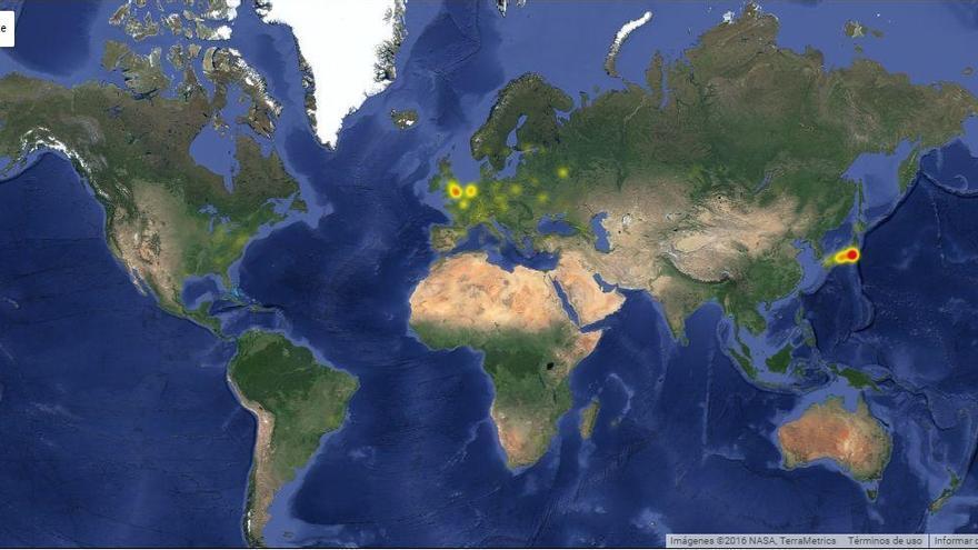 Mapa del apagón de Twitter