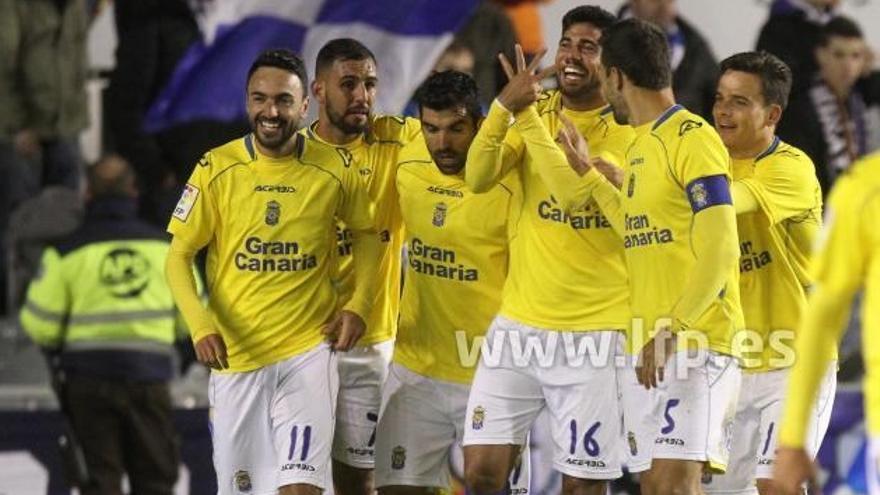 Celebración tras el segundo gol de la UD Las Palmas en el partido que le enfrentó ante el Sabadell. Foto: LFP.