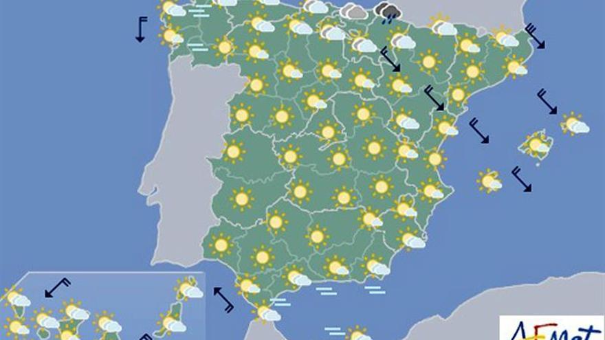 Hoy, nubes y lluvias en el Cantábrico y Navarra y temperaturas estables
