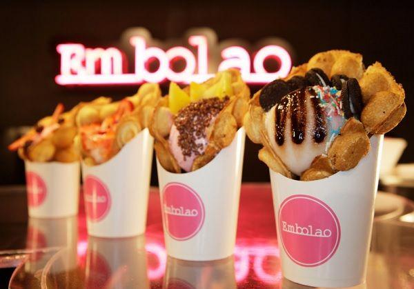 """Egg Waffle"" con helado de Embolao"
