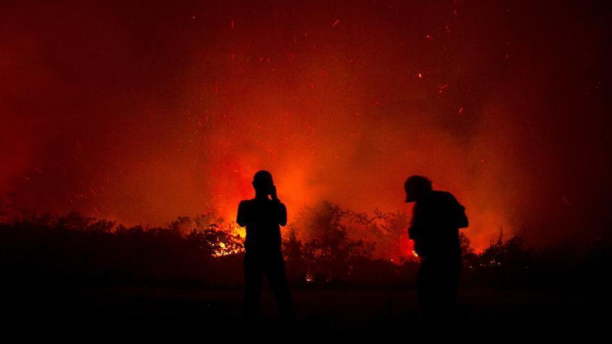 Residentes inspeccionan un incendio en Palangkaraya, Kalimantan Central, Indonesia, el 23 de septiembre de 2019 (publicado el 24 de septiembre de 2019). Se han desplegado bomberos, personal militar y helicópteros para combatir los incendios en Sumatra y Borneo que han causado una espesa neblina en los países vecinos, Singapur y Malasia.