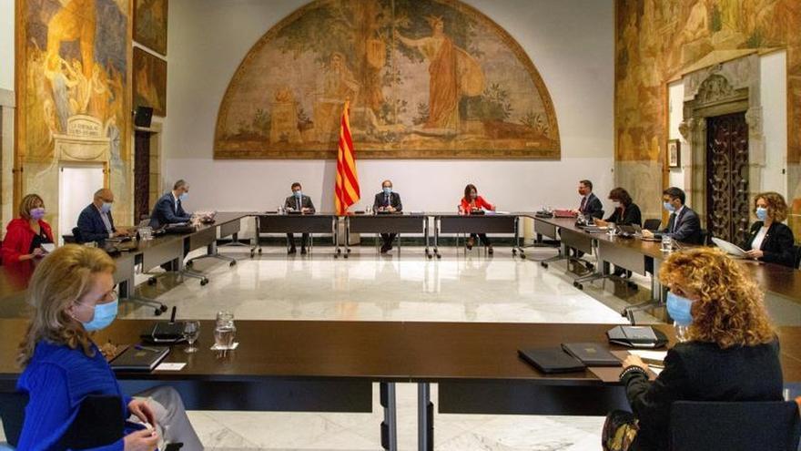 Vista de la reunión semanal del gobierno catalán.