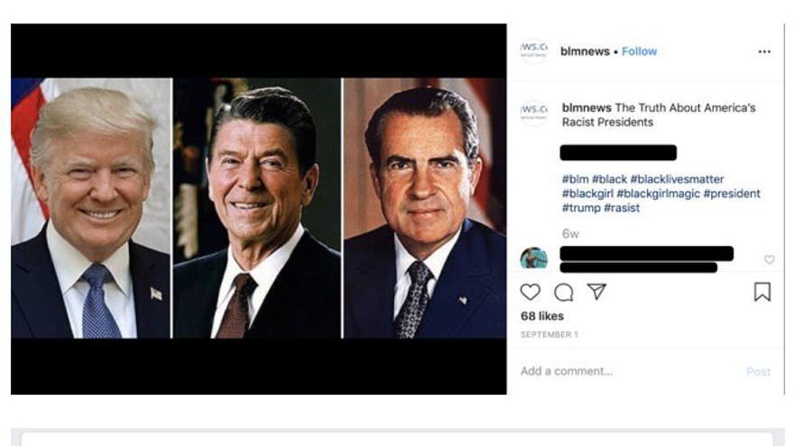 Una de las publicaciones en Facebook de la red de cuentas falsas desactivada por la red social.