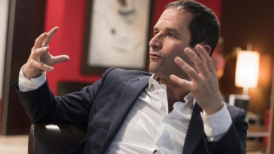 Benoît Hamon, durante la entrevista concedida a eldiario.es en Madrid