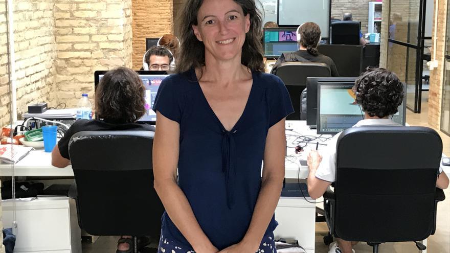 La portavoz de València en Comú, Maria Oliver, en la sede de eldiario.es en la Comunitat Valenciana.