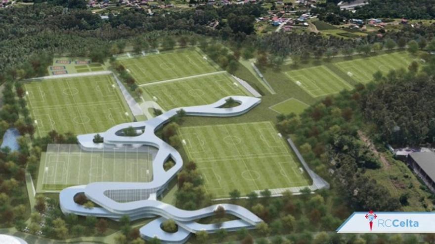 Recreación de los campos de fútbol que el Celta quiere construir en un monte comunal del municipio de Mos limítrofe con Vigo