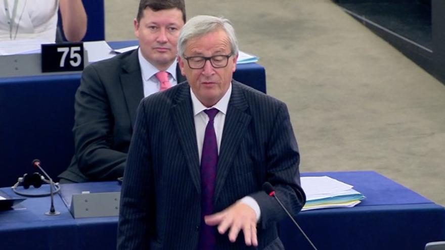 Juncker, durante su bronca a la Eurocámara