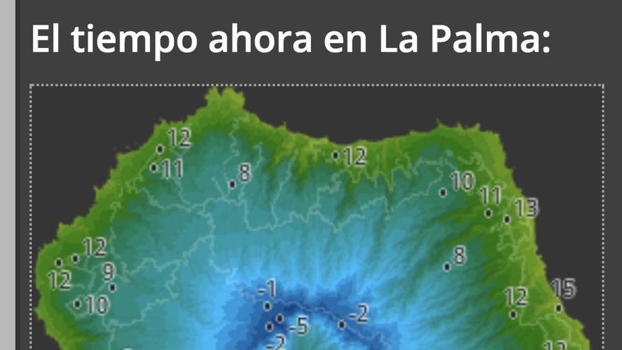 Mapa de HD Meteo de las temperaturas que, a las 08.30 de este miércoles, se registraban en diferentes puntos de La Palma.