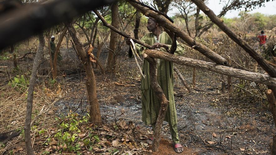 """Moussa Mamoudou, padre de tres hijos, vivía en Ippy. La lucha entre la UPC y la FPRC (ayudada por milicias de autodefensa) fue intensa. """"Las milicias no quieren Fulanis (Peuhls) en las aldeas entre Ippy y Bria. Pasamos más de 10 días en el bosque antes de llegar a Maloum. Es difícil para nosotros volver a Ippy, la convivencia ha empeorado """"."""