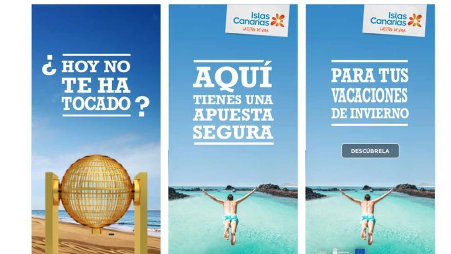 Campaña de la Consejería de Turismo del Gobierno de Canarias para promocionar en medios nacionales el día de la Lotería de Navidad.