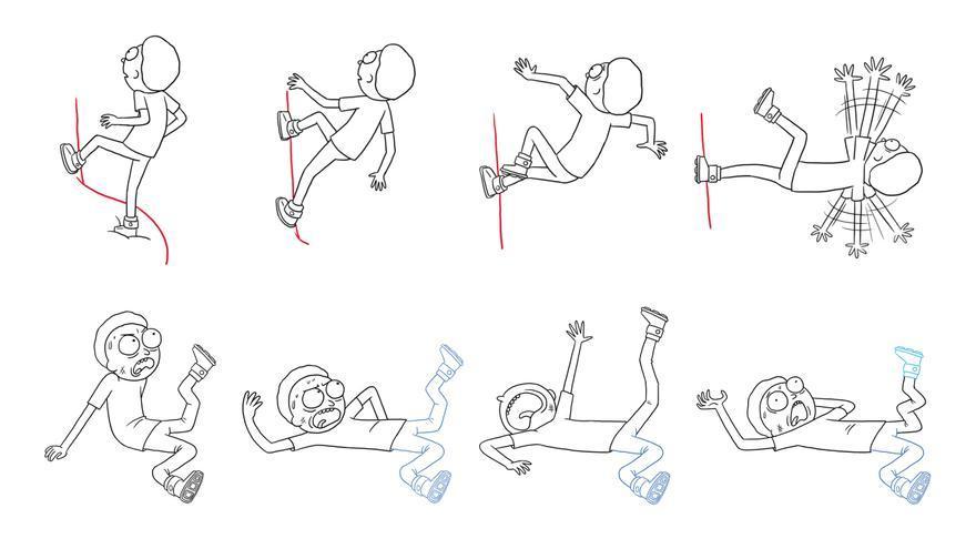 Secuencia del episodio en el que Morty se parte las piernas