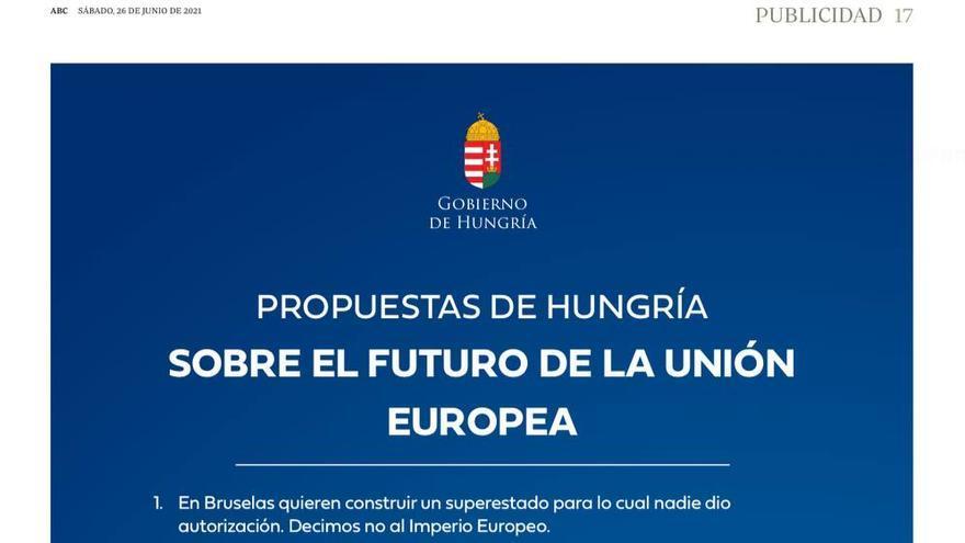 La publicidad de Orbán publicada este sábado en el diario ABC