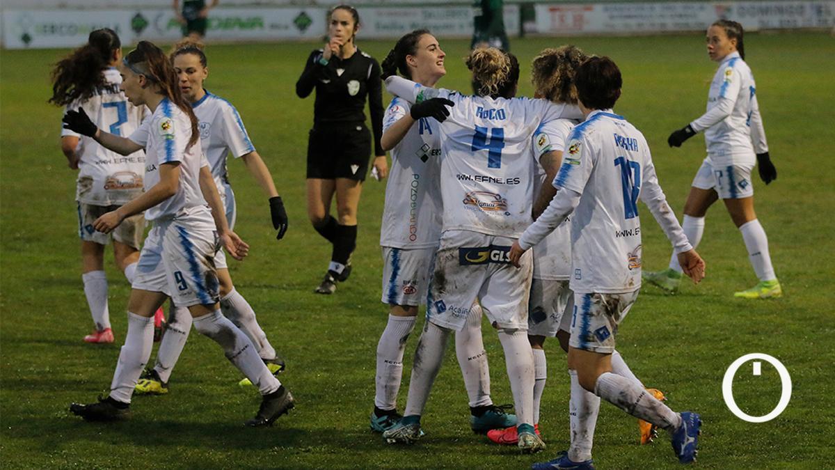 La jugadoras del Pozoalbense, en imagen de archivo, celebran un gol