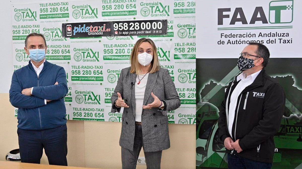 La consejera de Fomento, Marifrán Carazo, reunida con representantes de la Federación Andaluza de Autónomos del Taxi.