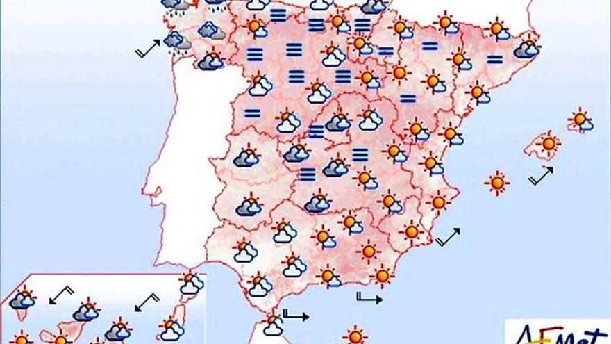 Lluvias débiles en Galicia, León y áreas del Cantábrico