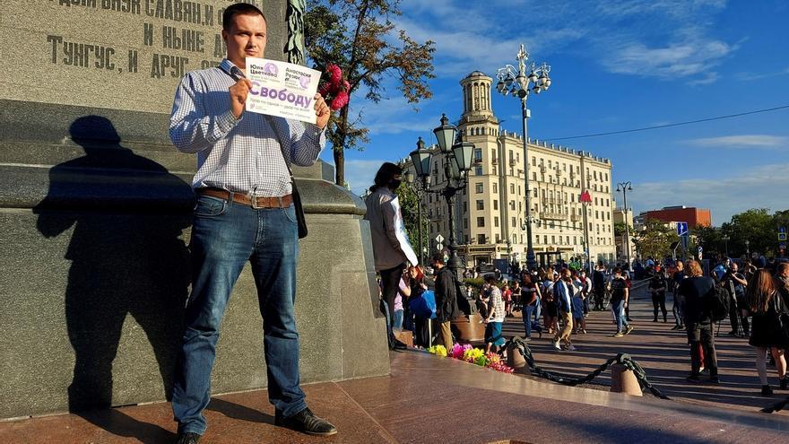 Asistentes a la manifestación en Moscú contra las enmiendas constitucionales.