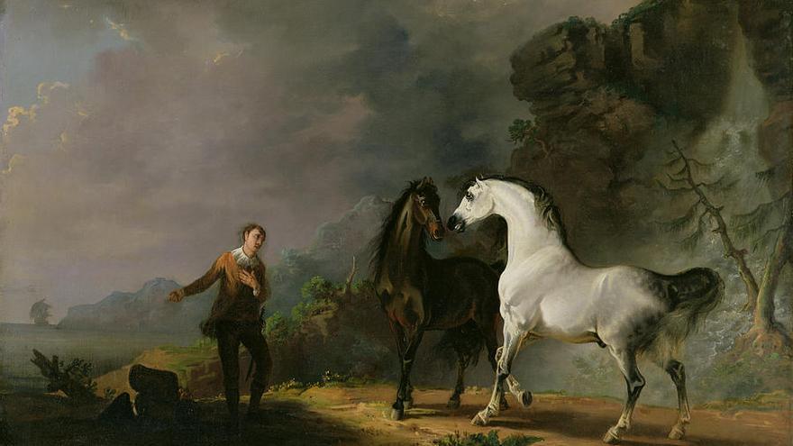 Gulliver dirigiéndose a los houyhnhnms, del pintor inglés Sawrey Gilpin (1733 - 1807)