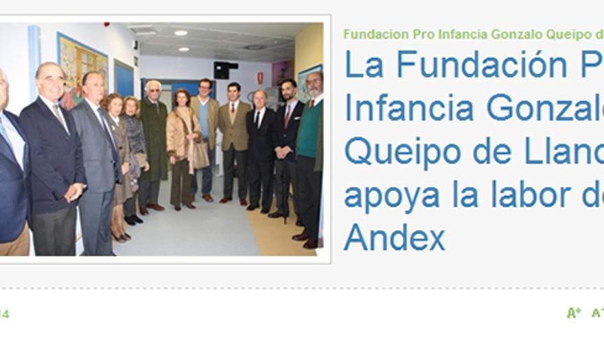 Captura de la web de AFA con el apoyo de la Fundación Queipo a Andex.