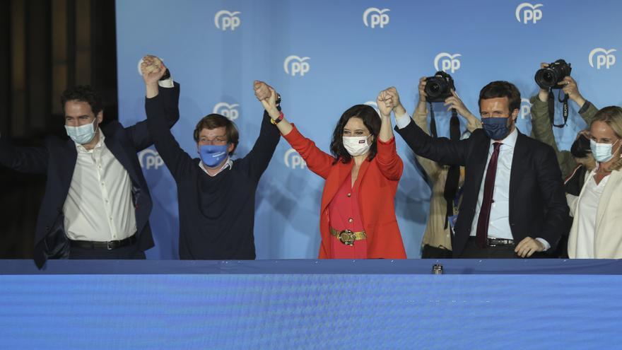 PP sigue los resultados de las votaciones. Elecciones 4-M 2021 Madrid