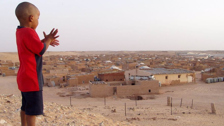 Un niño saharaui observa desde una duna el campamento sahararui de Tindouf.