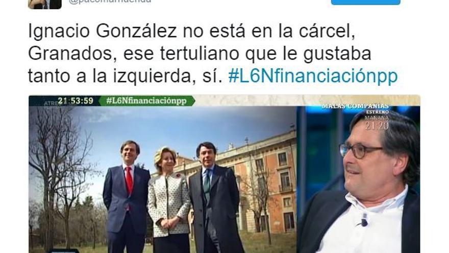 Mensaje de Francisco Marhuenda publicado en su cuenta de Twitter.