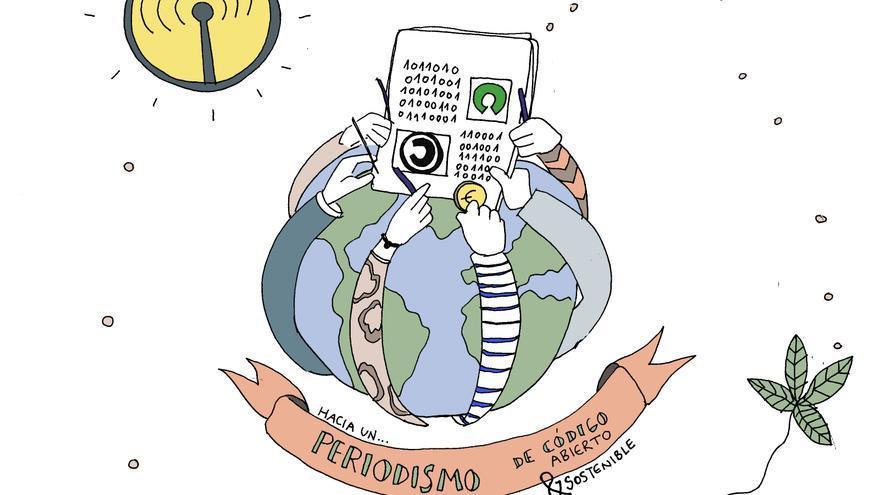 Hacia un periodismo de código abierto y sostenible. Ilustración creada y cedida al dominio público por Carla Boserman